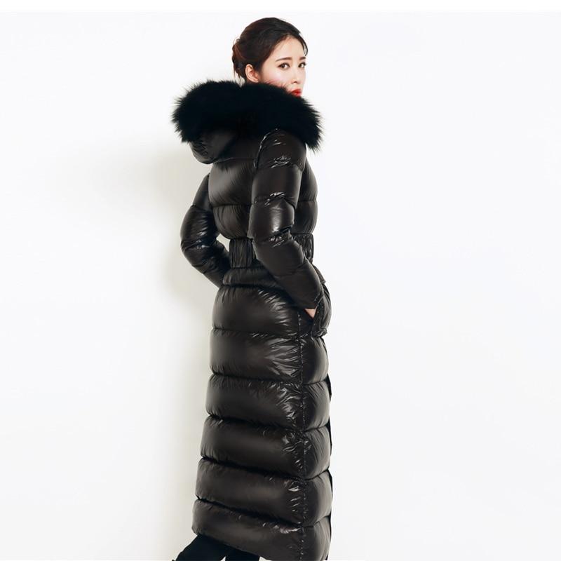 Luxury Winter Women Coat Fashion Windproof Long Outwear Parkas Real Fur Collar White Duck Down Thick Warm Female Overcoat