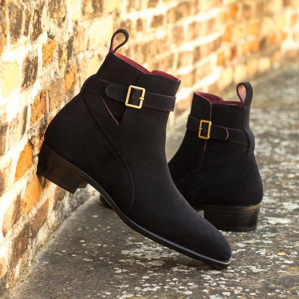 Fashion Men's Boots Simple Retro Classic Style Black Buckle Men's Shoes Suede Ankle Boots Mens  Zapa