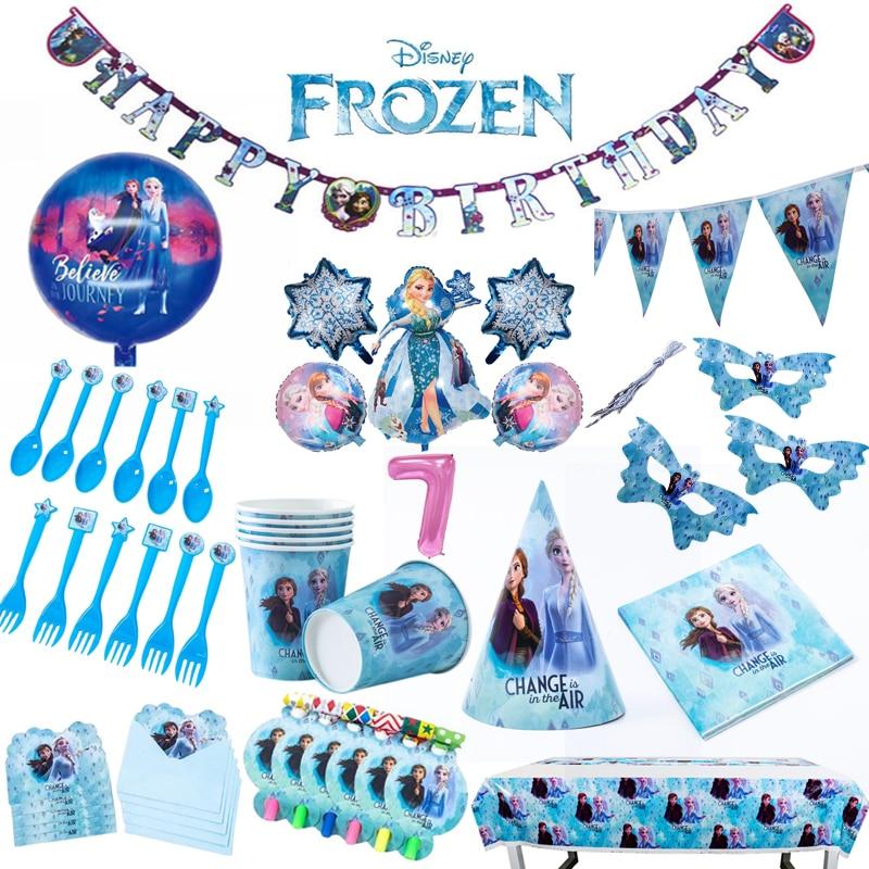 Disney, «Холодное сердце», Эльза, украшения для дня рождения, одноразовая посуда, бумажная чашка/тарелка/салфетка/скатерть, товары для вечеринк...
