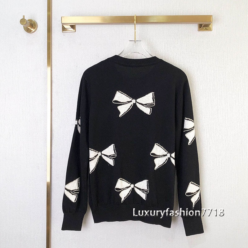 Autumn women fashion 2021 sweaters Bow pattern jacquard Designer long sleeve Pullover New style clothes knitting woman sweater enlarge