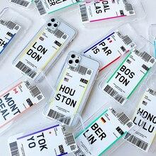 Billet davion ÉTATS-UNIS ville Londres Paris Tokyo Étiquette Monde Clair étui pour iphone 11 Pro XR XS Max 7 8 plus Houston Chicago QR code couverture