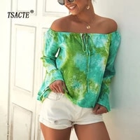 tsacte off the shoulder sexy long sleeved shirt new womens one line neck print top summer casual all match blouse