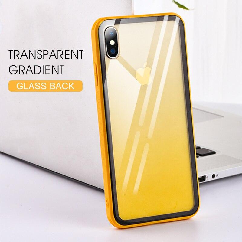 Funda de teléfono de vidrio templado para iPhone 7 8 Plus 6 6S XS Max XR X funda de colores funda de lujo a prueba de golpes para iPhone 7 8 Plus