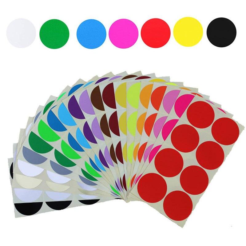 8Pcs/Blatt 50mm Bunte Leere Papier Aufkleber für Label Blank Runde Kreise Aufkleber