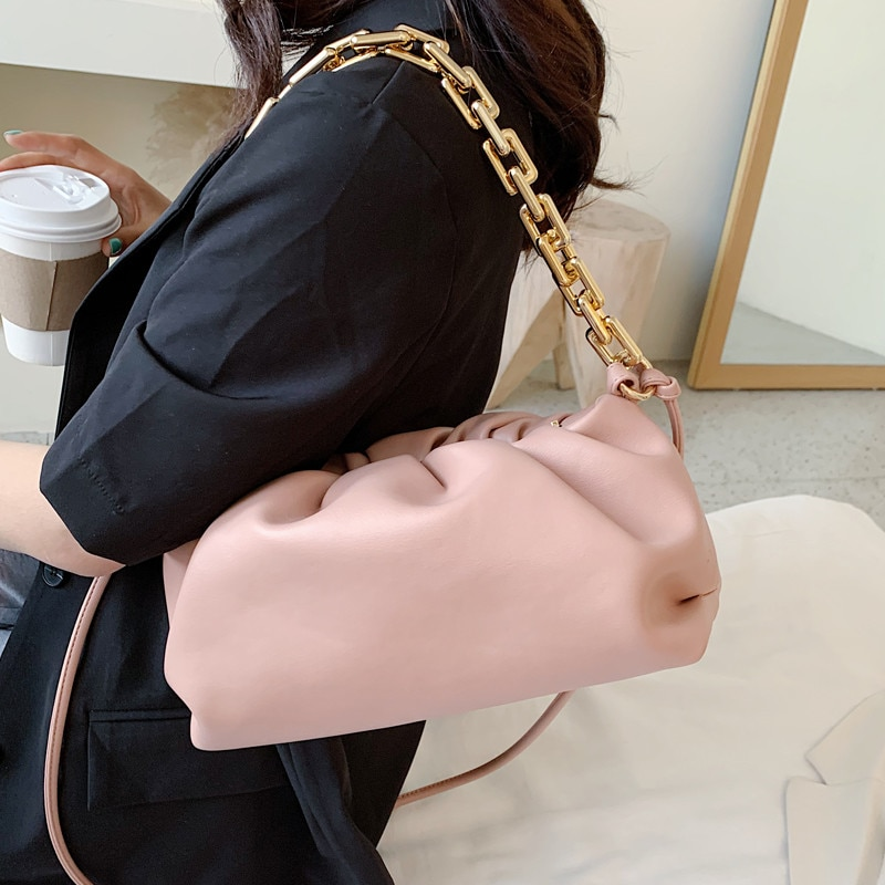 Gold Chain women Crossbody Bags PU Leather Female Handbags 2020 Summer Small Cloud Shoulder Solid Color Cross Body Bag green