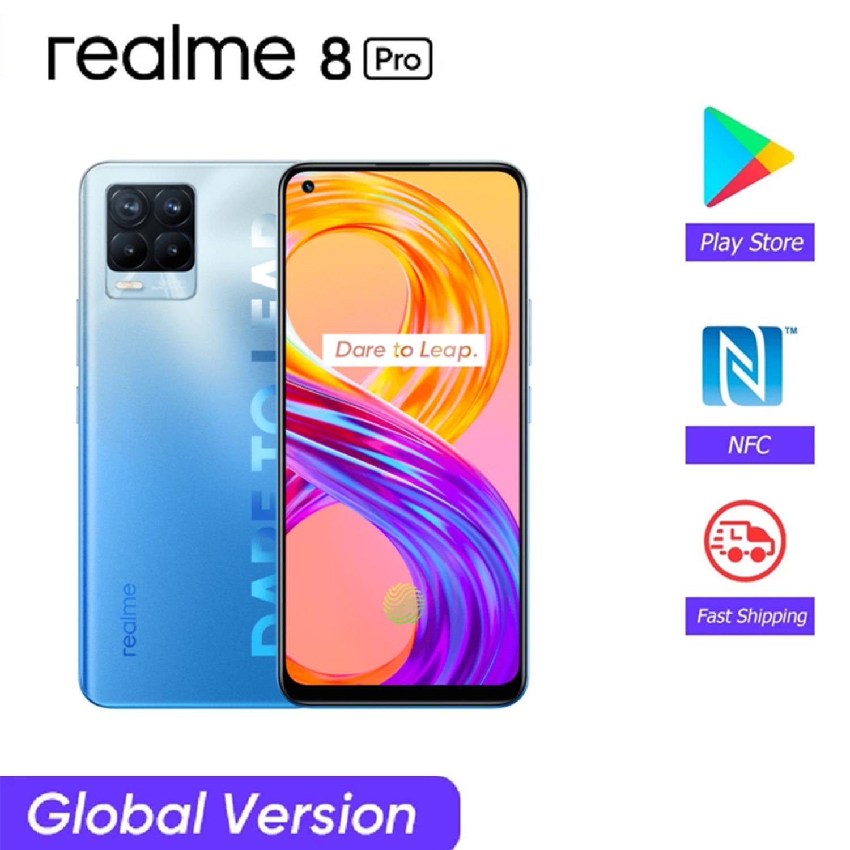 Перейти на Алиэкспресс и купить Глобальная версия Realme 8 Pro 6 ГБ/8 ГБ 128 ГБ Snapdragon 720G смартфон 6,4 дюйма 108MP камера 50 Вт SuperDart зарядка 4500 мАч NFC