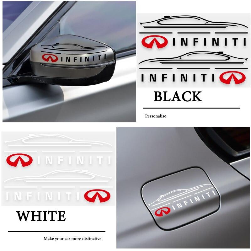 2 pçs reflexivo estilo do carro espelho retrovisor lateral adesivo para infiniti fx35 q50 q30 esq qx50 qx60 qx70 ex jx35 g35 acessórios