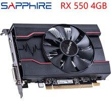 Szafirowa karta graficzna RX 550 4GB 128Bit GDDR5 karty graficzne dla kart AMD RX 500 seria VGA RX550 DisplayPort HDMI DVI używane