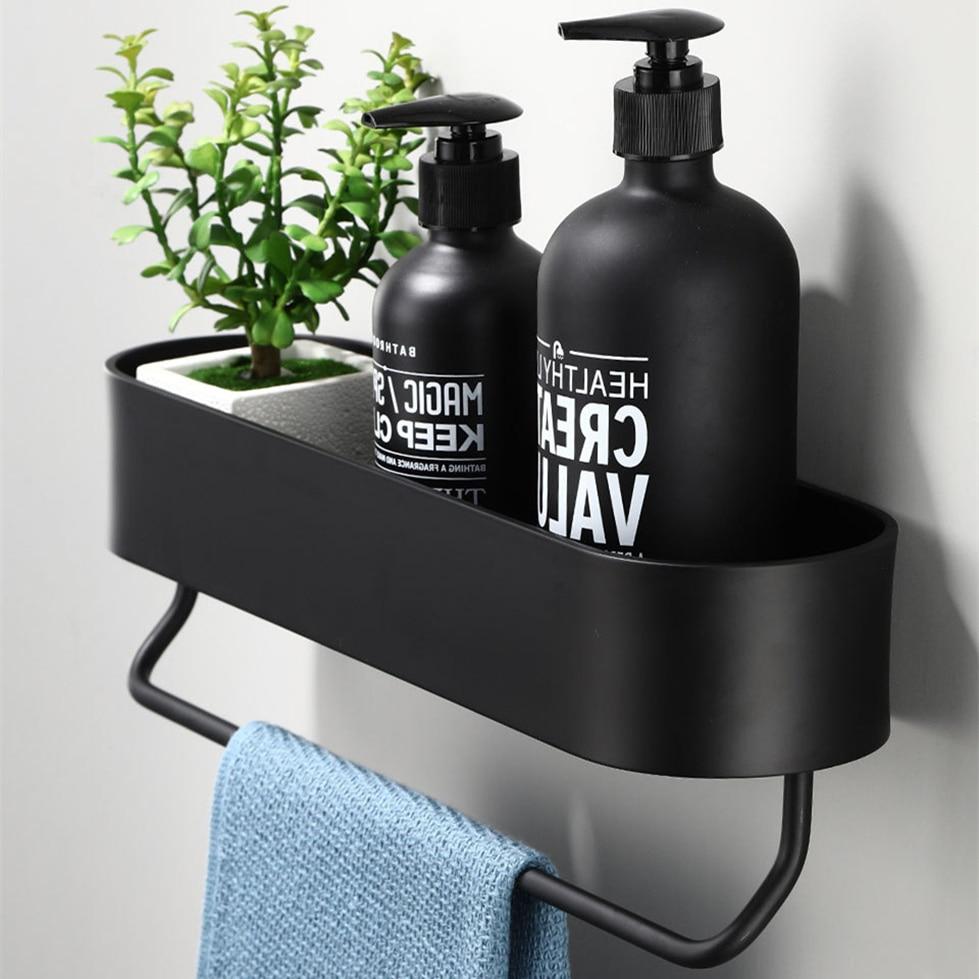 الحمام الجرف رف المطبخ جدار رفوف منشفة استحمام حامل أسود دش سلة التخزين منظم مطبخ اكسسوارات الحمام