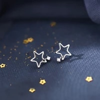 simplicity stars stud earrings exquisist hollow cute fashion s925 silver earrings hanging small zircon women birthday gifts