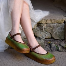 Artmu 원래 레트로 그린 두꺼운 유일한 여성 신발 버클 정품 가죽 신발 플랫폼 레트로 손수 플랫 신발 667-8046