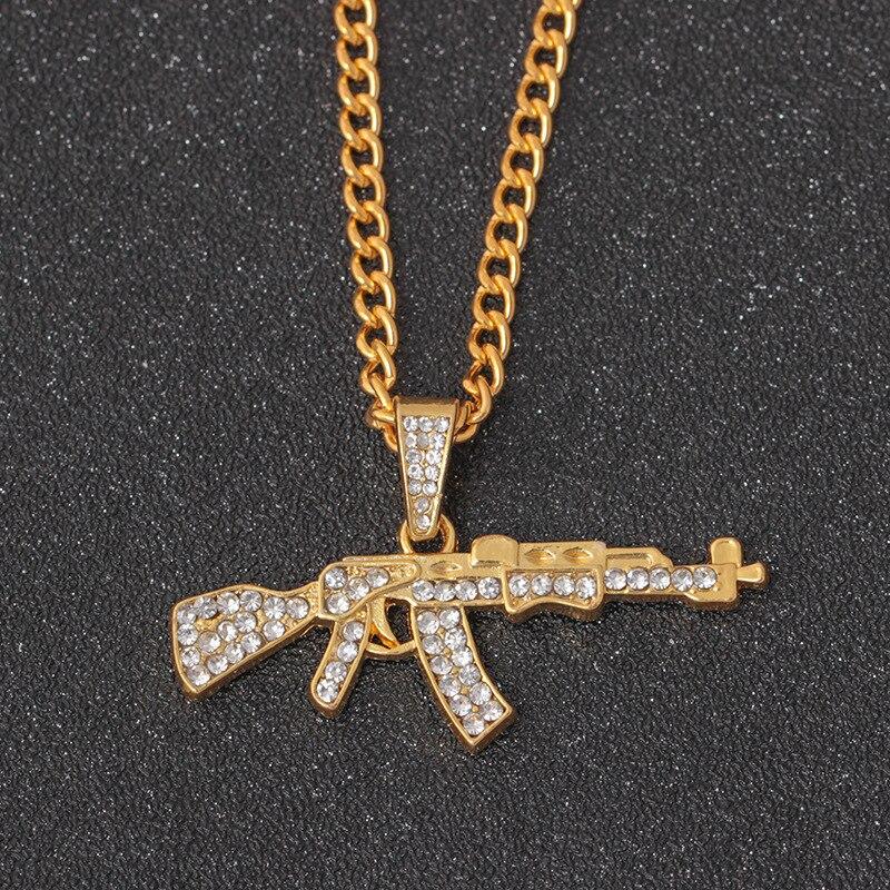 AK-47 brillante pistola Submachine Gun Hip Hop oro plata Color cristal colgante collar Iced Out Cuban Chain Jewelry