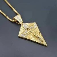 new christianity jesus cross pattern pendant necklace mens necklace crystal inlaid religious necklace accessories jewelry