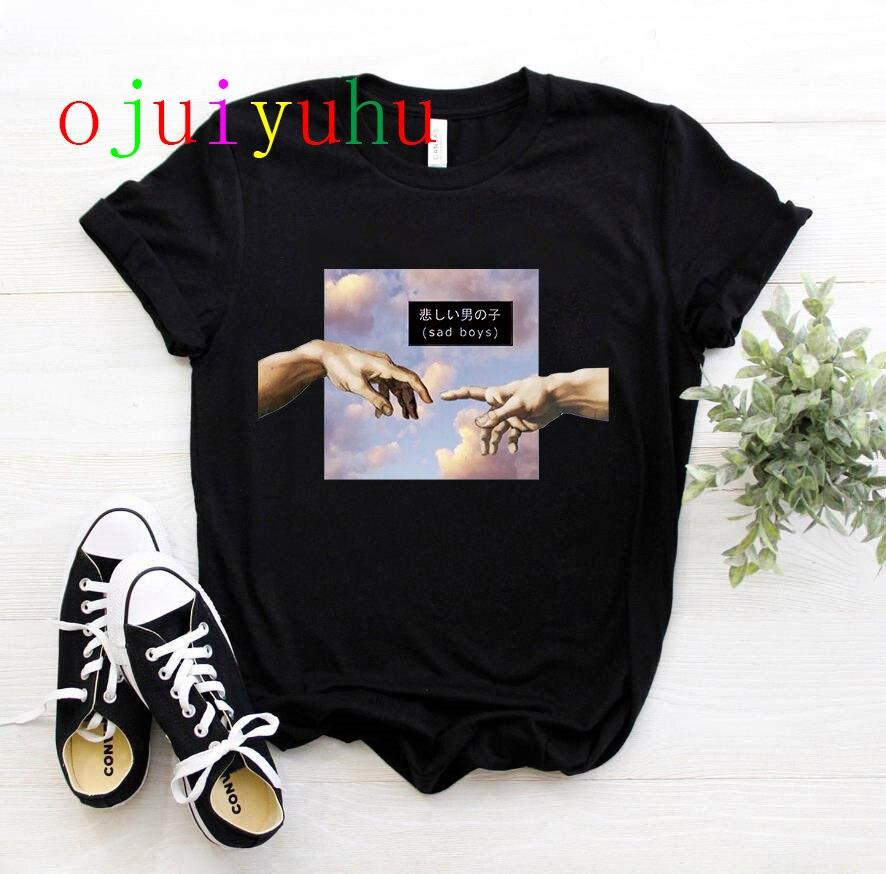 Nueva camiseta con divertido dibujo de michelangel para mujer, Camiseta con estampado estético Grunge a mano, camiseta con gráfico de gran tamaño, camiseta informal para mujer