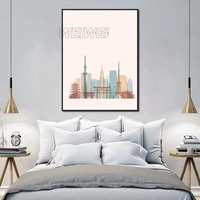 landscape painting home decoration pink urban art canvas poster hd printing for bedroom and living room frameless style