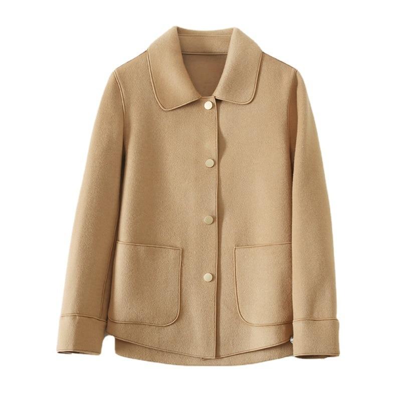 SHUCHAN-Abrigos cortos para Mujer, Abrigos de cuello cuadrado cubierto con botón de...