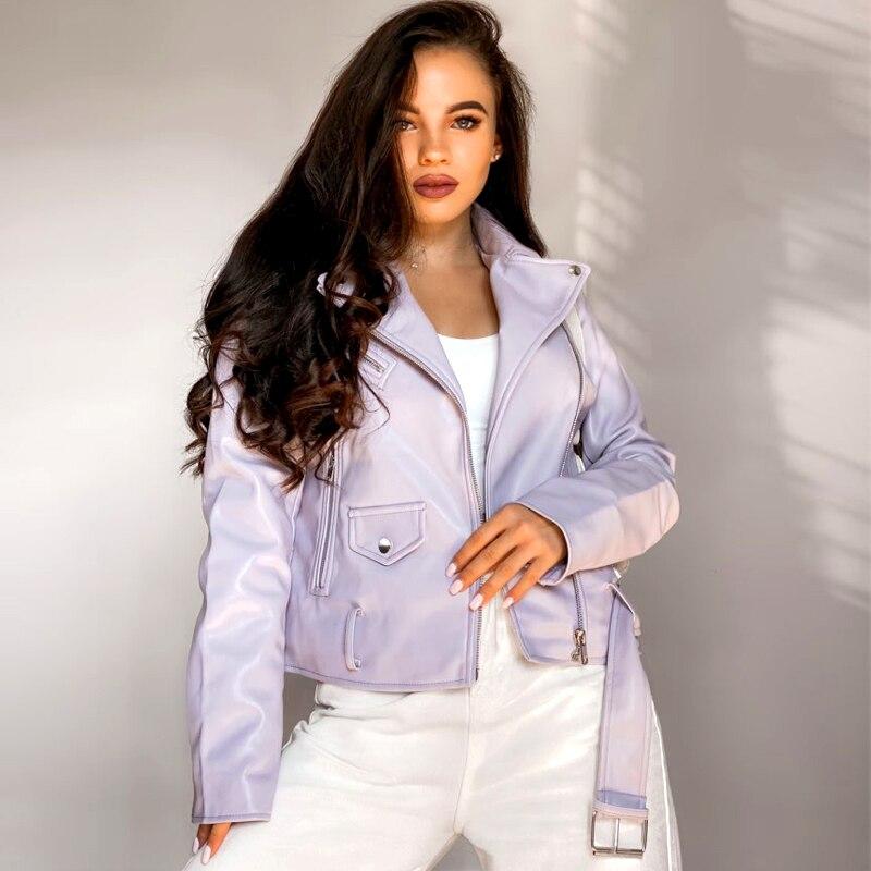 Куртка женская демисезонная из искусственной кожи, однотонная Байкерская верхняя одежда на молнии с поясом
