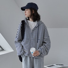 Korean Style Women Casual Striped Zip Up Japanese Hoodies Ulzzang BF Coat 2021 Autumn Fashion Vintag