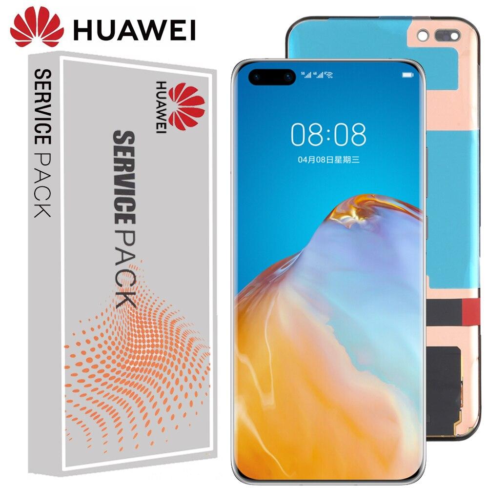شاشة 100% جديدة 6.58 ''AMOLED 1200x2640 LCD لهاتف Huawei P40 Pro شاشة LCD تعمل باللمس محول رقمي P40pro مع أجزاء إصلاح الإطار
