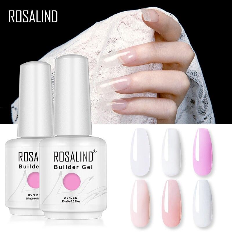 ROSALIND 15ML Builder Gel Nail Polish Clear Nail Gel Varnishes For Nail Art Designed Soak Off Semi Permanent UV Lamp Manicure