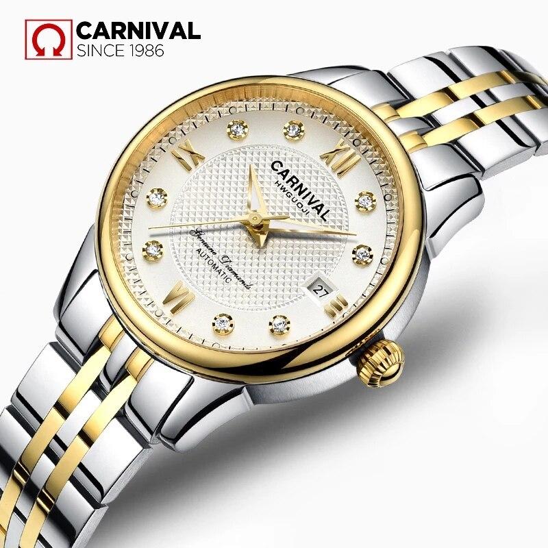 CARNIVAL Woman Fashion Silver Gold Automatic Watches Luxury Waterproof Luminous Calendar Mechanical Wristwatch Relogio Feminino enlarge