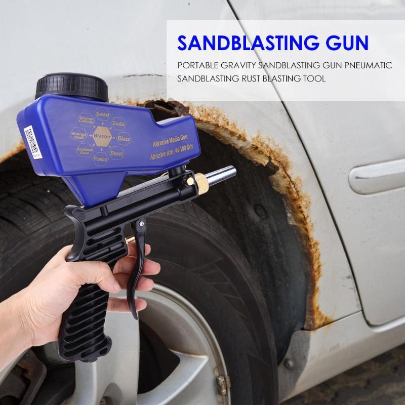 נייד Airbrush הכבידה התזת חול אקדח פנאומטי התזת חול סט חלודה פיצוץ מכשיר מיני חול פיצוץ מכונת כלי