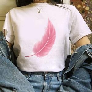 Перо тема принтованная футболка для женщин 90s Графический Harajuku футболка с изображением якоря Топы Футболка Милая футболка с короткими рукавами и рисунком животных футболки женские футболки