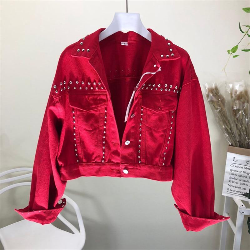 2020 neue Frühjahr Rot Denim Jacke Frauen Mantel langarm Sicken Niet Kurze Schwarze Jeans Mantel Mode Bomber Jeans Jacke g252
