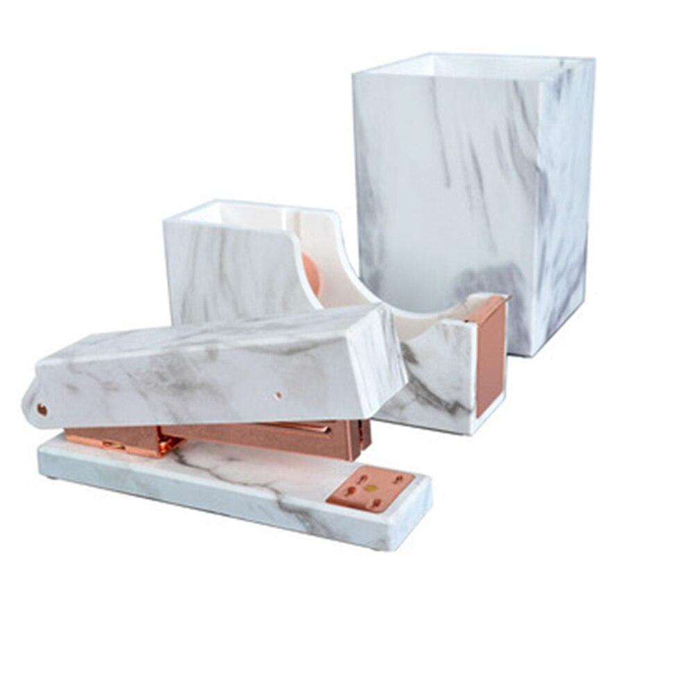 3pcs Kit Stationery Office Caneta Mesa de Mármore Impressão Pote Copo, Distribuidor da Fita Adesiva, manual de Desktop Grampeadores Rose Gold Tone Conjunto de Papelaria