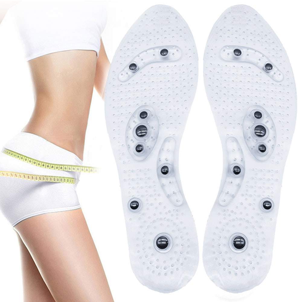 Unisex Magnetic Therapy Massage Insoles Foot Acupressure Shoe Pads Therapy Slimming Insoles for Weight Loss Transparent orthopedic premium magnetic therapy magnet health care foot massage insoles unisex shoe comfort pads magnet insoles