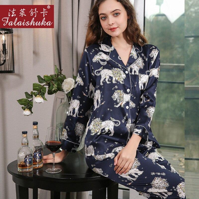 امرأة المنزل ترتدي 100% مثير بيجامة من الحرير مجموعات الحيوان طباعة الأزرق ملابس للنوم 2021 الصيف قطعتين منامة دعوى ملابس خاصة