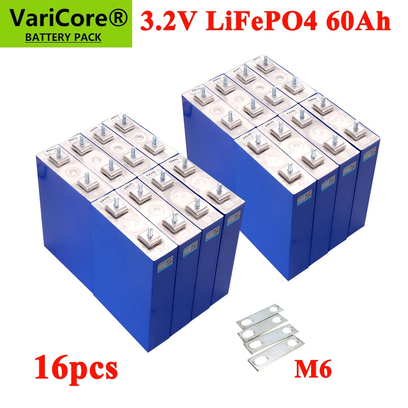 16 قطعة VariCore 3.2 فولت 60Ah Lifepo4 بطارية 4000 دورة ل 12 فولت 24 فولت 36 فولت 48 فولت الطاقة الشمسية تخزين RV لوحة طاقة شمسية قافلة بطاريات