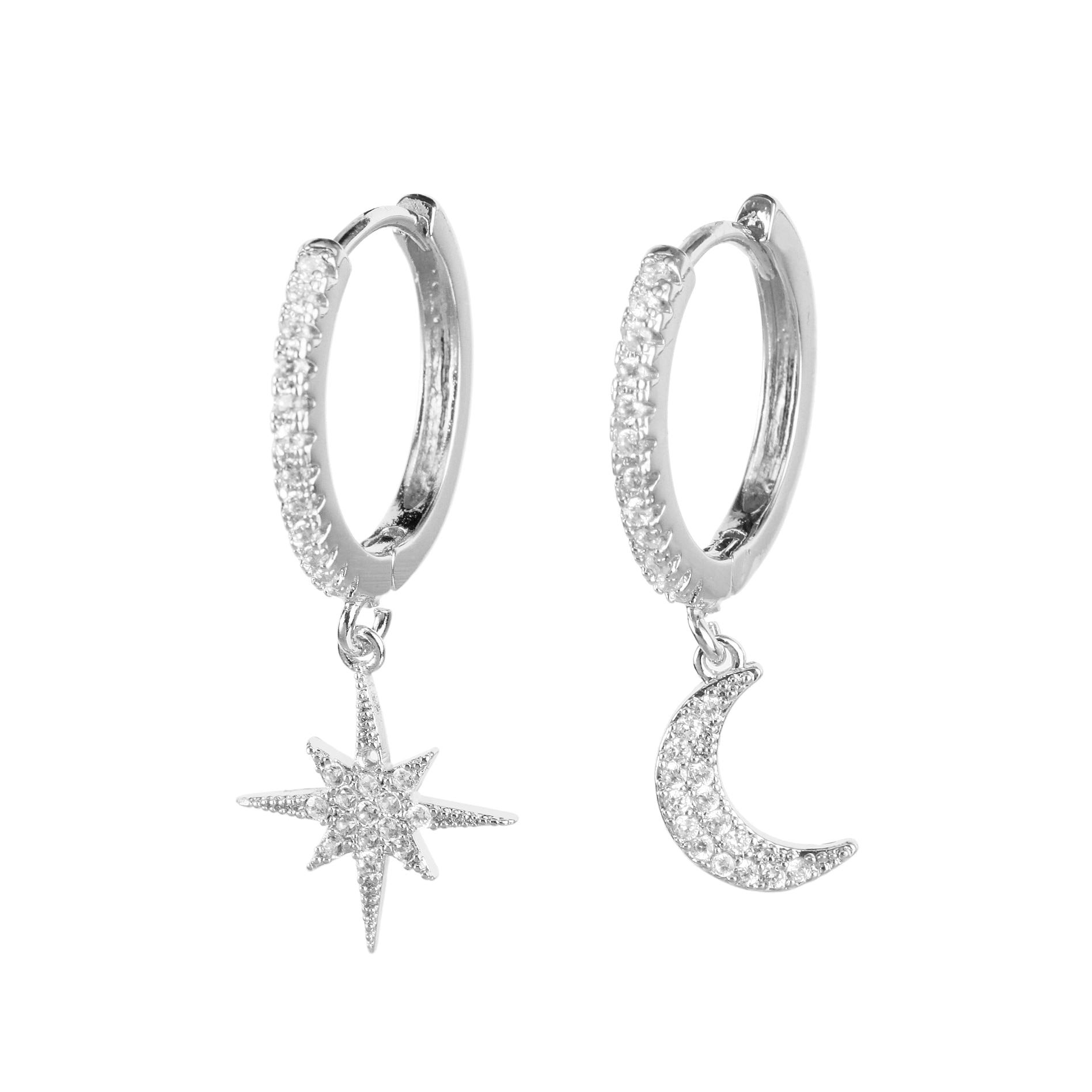 Pendientes colgantes de luna y estrella para mujer, aretes clásicos de Color...