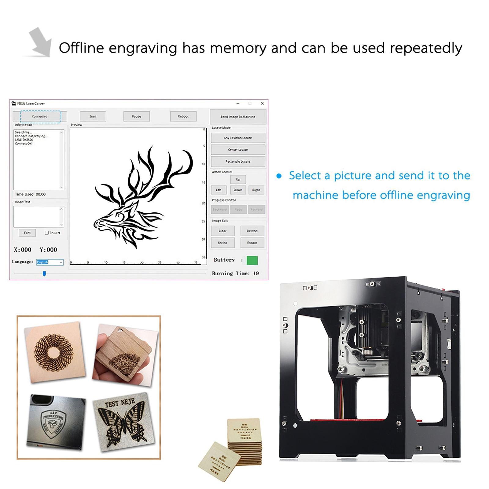 NEJE DK-BL 3000mW Laser Engraver 445nm AI Mini Engraving Machine Wireless Bluetooth4.0 USB Connection CNC Laser Cutter Print enlarge