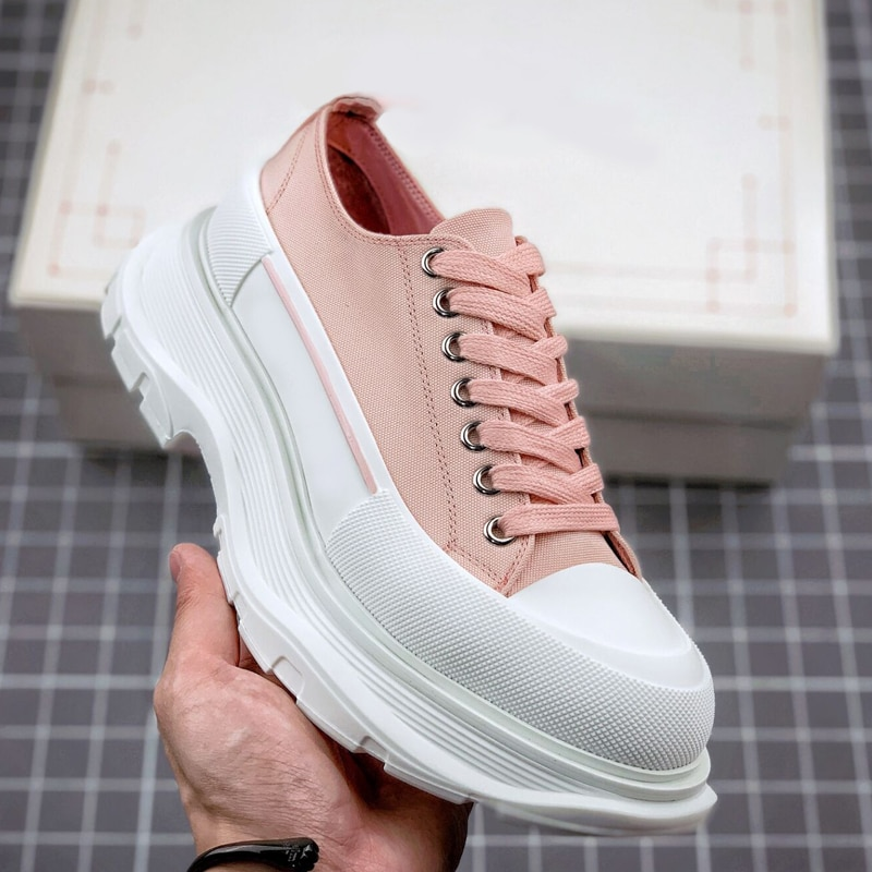 Men's and Women's Couple Models Sneakers New Low-Cut Lace-Up Muffin Thick-Soled Increased Canvas Spo