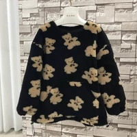 women coat winter and autumn 2020 new arrival real sheep wool jacket o neck warm clothes pocket bear pattern plus size
