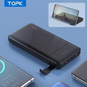 TOPK внешний аккумулятор 10000 мАч с держателем для телефона портативное зарядное устройство Внешний аккумулятор повербанк для iPhone 12 Pro Max Xiaomi mi