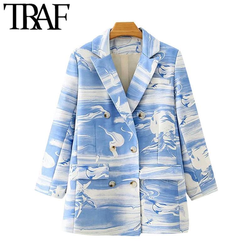 TRAF-سترة نسائية مطبوعة مزدوجة الصدر ، معطف عتيق ، أكمام طويلة ، جيوب ، ملابس خارجية أنيقة