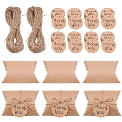 Travesseiro de papel quadrado rústico em 20 peças, caixa de presente para festa de casamento, frutas de casa decoração
