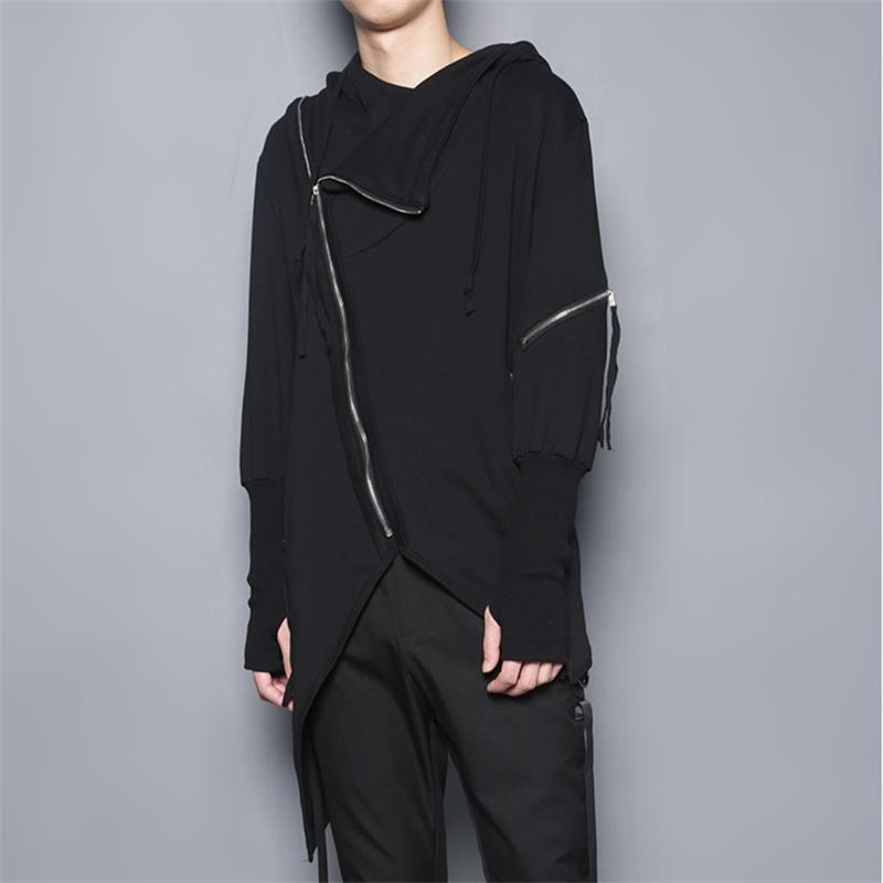 Dark three-dimensional tailoring irregular personality oblique zipper stitching hooded jacket casual jacket windbreaker trendy m