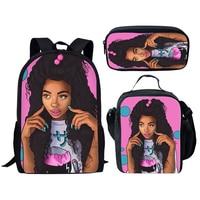 NOISYDESIGNS Black Art Afro Lady Girls School Bags Kids 3pcs School Bag Set Children Preppy Bookbags Students School Rucksack