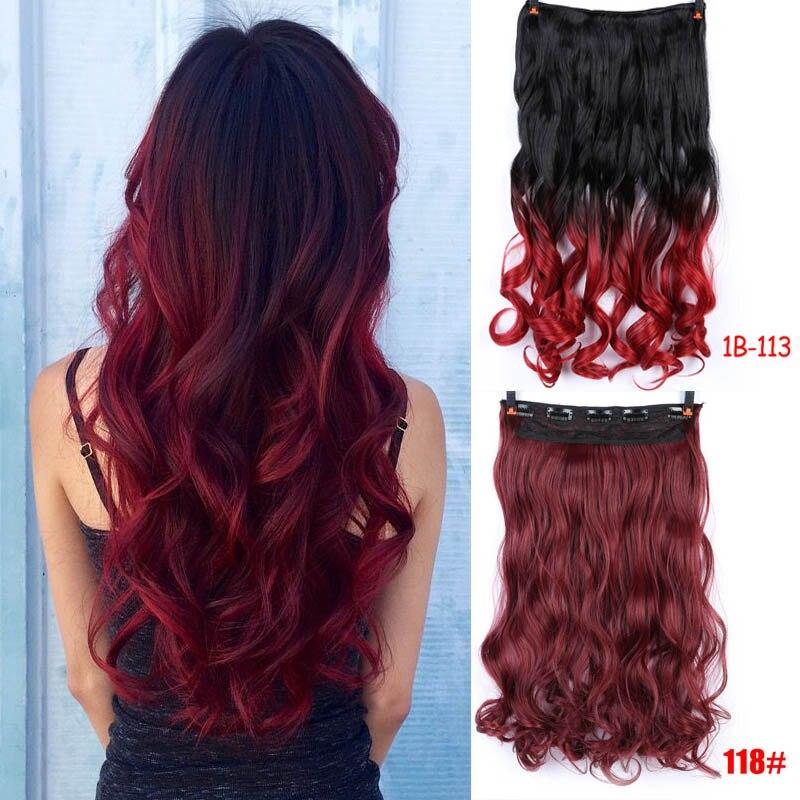 5 клипсов для наращивания волос, Омбре, блонд, фиолетовый, синий, черный, на всю голову, синтетические натуральные Кудрявые Волнистые волосы, шиньоны для волос