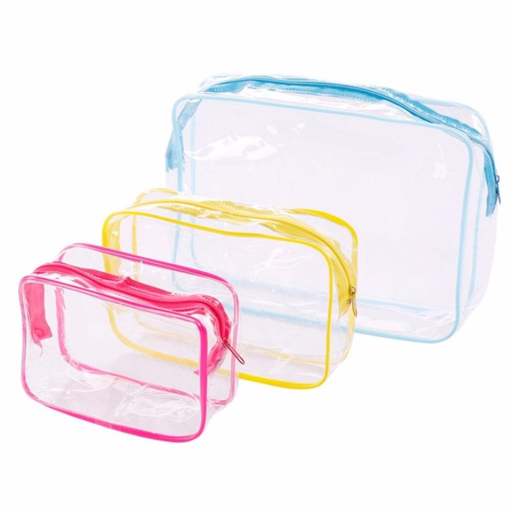 NEW Travel PVC Cosmetic Bags Clear Zipper Makeup Bags Organizer Waterproof Beauty Organizer Storage