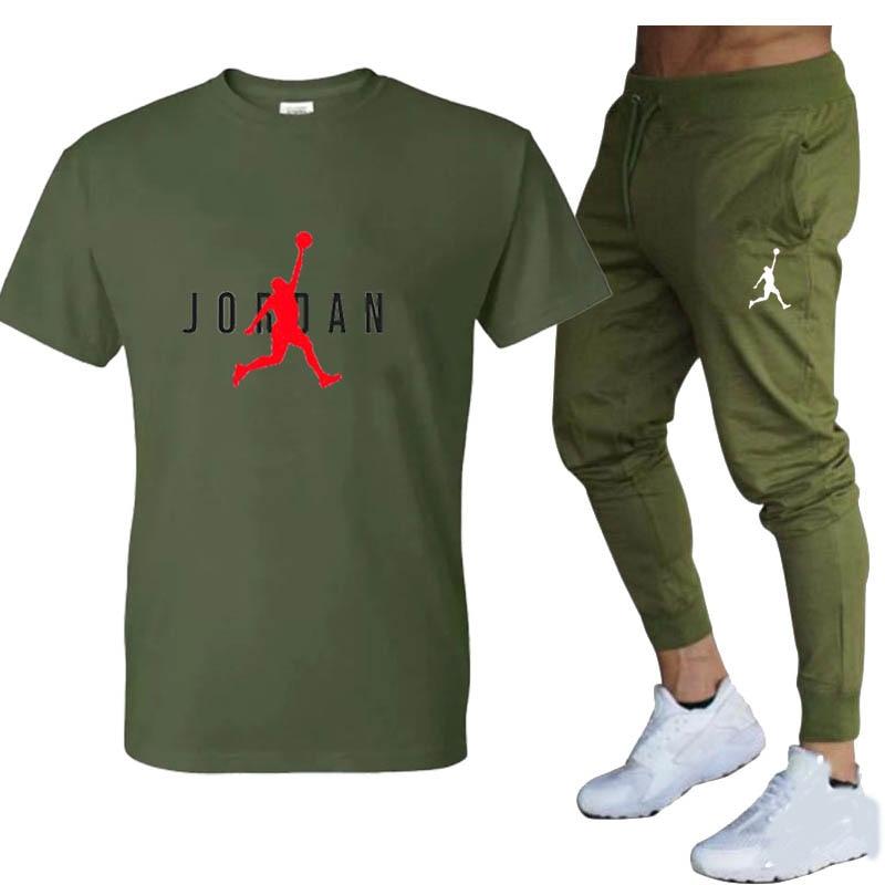 Hot-Selling Summer T-Shirt Pants Set Casual Brand Fitness Jogger Pants T Shirt Hip Hop Fashion Men's Tracksuits