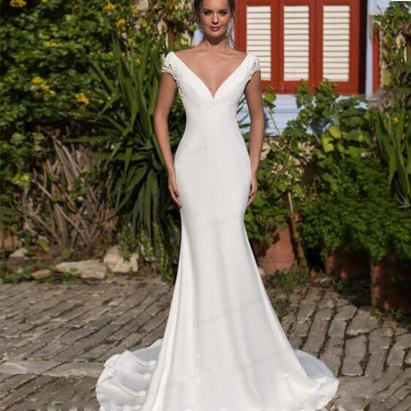 Get Sexy  Mermaid Wedding Dress V-Neck Backelss Sweep Train High Quality Robe De Mariage For Women Bridal Gown Short Sleeve Custom