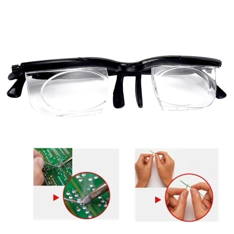 SweettreatsNew מתכוונן חוזק עדשה Eyewear משתנה פוקוס מרחק ראיית זום משקפיים מגדלת משקפיים עם אחסון תיק