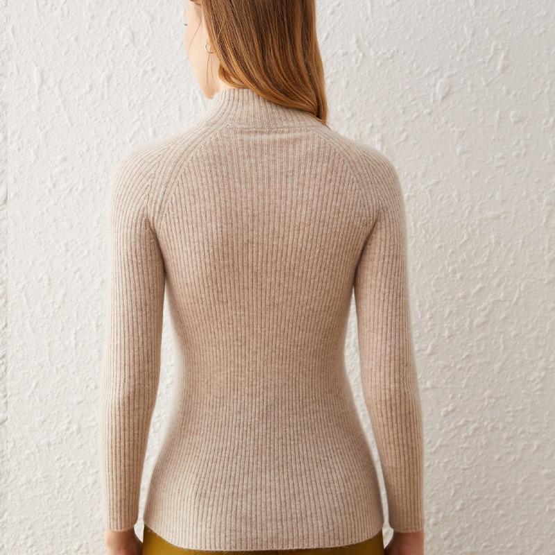 SHUCHAN Half High Collar SWEATER WOMEN 30% Cashmere 70% Wool Basic High Elasticity Pullover Autumn Winter Slim Tops enlarge