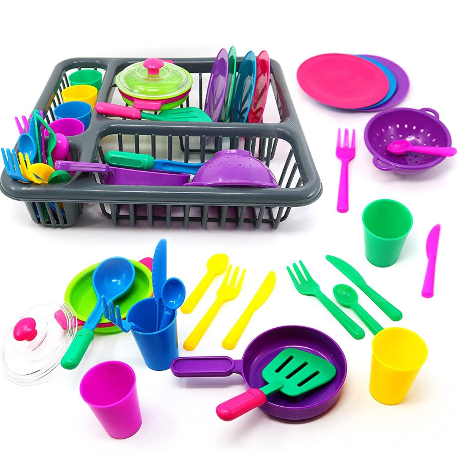 Vajilla de cocina para niños y niñas, juego de vajilla con platos y juguetes para juego de roles, regalo de cumpleaños y Navidad, 27 Uds.