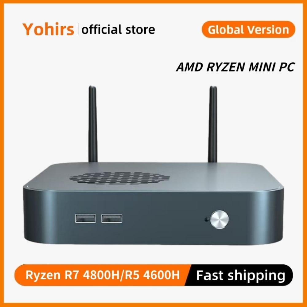 Powerful 7nm AMD Gamer Mini Pc Ryzen7 4800H Vega 8 NVME Windows10 HDMI2.0 DP Type-C 3x4K 60hz Desktop Computer with AX200 WIFI6