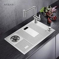 asras 6038x kitchen sink with high pressure automatic cup rinser 304 stainless steel wine bar cup washer with faucet